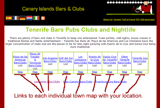 map links showing bars pubs and clubs